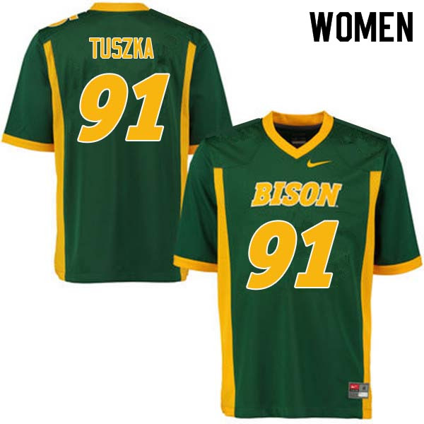 Women #91 Derrek Tuszka North Dakota State Bison College Football Jerseys Sale-Green